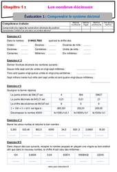 Comprendre le système décimal – 6ème – Evaluation avec la correction sur les nombres décimaux