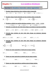 Encadrer, intercaler, valeur approchée - 6ème - Révisions - Exercices avec correction sur les nombres décimaux
