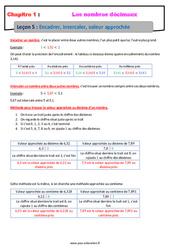 Encadrer, intercaler, valeur approchée - 6ème - Cours sur les nombres décimaux