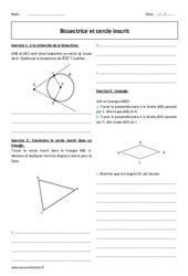 Bissectrice et cercle inscrit - 4ème - Exercices corrigés