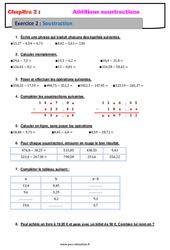 Soustraction des nombres décimaux - 6ème - Révisions - Exercices avec correction