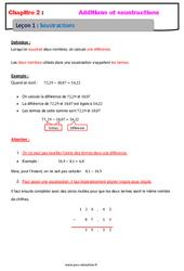 Soustraction des nombres décimaux - 6ème - Cours