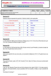 Calculs de durée – 6ème – Evaluation avec la correction – Addition et soustraction des nombres décimaux