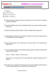 Calculs de durée – 6ème – Exercices avec correction – Addition et soustraction des nombres décimaux