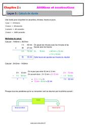 Calculs de durée – 6ème – Cours – Addition et soustraction des nombres décimaux