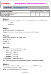 Ordre de grandeur d'un produit - 6ème - Evaluation avec la correction - Multiplication des nombres décimaux