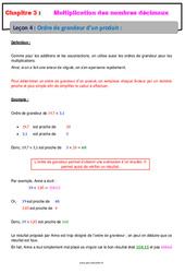 Ordre de grandeur d'un produit – 6ème – Cours – Multiplication des nombres décimaux