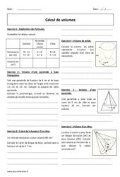 Calcul de volumes - 4ème - Exercices à imprimer