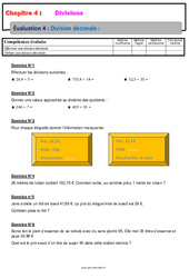 Division décimale – 6ème – Evaluation, bilan, contrôle avec la correction – Divisions