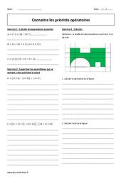 Connaitre les priorités opératoires – 5ème – Exercices à imprimer
