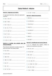 Calcul littéral – Réduire – 5ème – Exercices corrigés