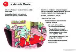 La visite de Mamie – CE1 – Lecture compréhension – Histoire illustrée - Niveau 1