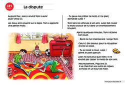 La dispute – CE1 – Lecture compréhension – Histoire illustrée - Niveau 1