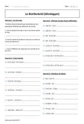 Développer – Distributivité – 5ème – Exercices corrigés