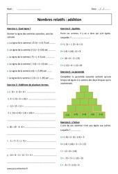 Addition des nombres relatifs – 5ème – Exercices avec correction