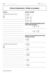 Ecriture fractionnaire – Utiliser et comparer – 5ème – Exercices à imprimer