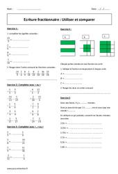 Utiliser et comparer – Ecriture fractionnaire – 5ème – Exercices corrigés