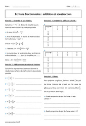 Ecriture fractionnaire – Addition – Soustraction – 5ème – Exercices