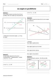 Angles - Parallélisme - 5ème - Exercices corrigés