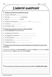 Adjectifs qualificatifs – Ce2 – Exercices à imprimer