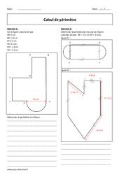 Calcul de périmètre - 5ème - Exercices corrigés