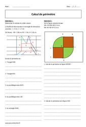 Périmètre - 5ème - Exercices à imprimer - Calcul