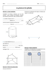 Cylindre – Prisme – 5ème – Exercices à imprimer