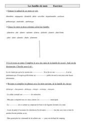 Familles de mots - Cm1 – Exercices – Vocabulaire