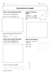 Triangles – 5ème – Exercices à imprimer