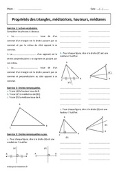 Propriétés des triangles, médiatrices, hauteurs, médianes – 5ème – Exercices