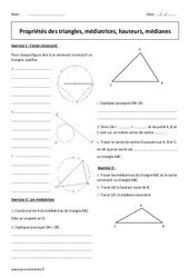 Triangles – 5ème – Exercices corrigés sur la médiatrice, hauteur, médiane
