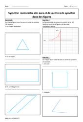 Reconnaitre des axes et des centres de symétrie dans des figures – 5ème – Exercices