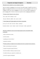 Emprunts aux langues étrangères - Cm1 - Exercices - Vocabulaire