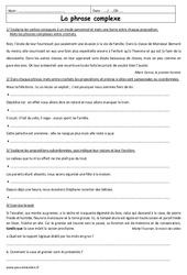 Phrases complexes – Phrases simples  – 3ème – Exercices à imprimer