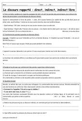 Direct, indirect, indirect libre – 3ème – Exercices à imprimer sur les discours rapportés