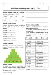 Diviser et multiplier  par 10, 100, 0.1, 0.01 - 6ème - Exercices à imprimer