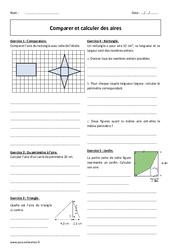 Aires – Calculer et comparer  – 6ème – Exercices corrigés