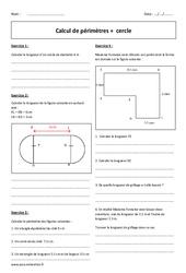 Calcul de périmètres – Cercle – 6ème – Exercices à imprimer