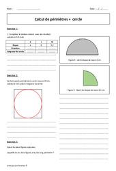 Cercle – Périmètre – 6ème – Exercices corrigés sur le calcul
