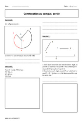 Construction au compas – Cercle – 6ème – Exercices avec correction