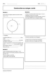 Cercle – Construction au compas – 6ème – Exercices corrigés