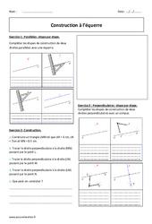 Equerre – Construction – 6ème – Exercices à imprimer