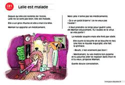 Lalie est malade – CE1 – Lecture compréhension – Histoire illustrée - Niveau 1