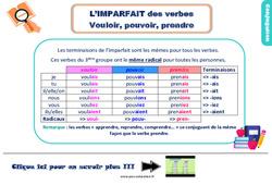 Leçon, trace écrite sur l'imparfait des verbes vouloir, pouvoir, prendre au Ce2