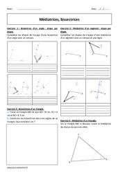 Bissectrices - Médiatrices - 6ème - Exercices à imprimer