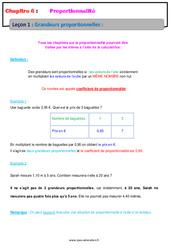 Grandeurs proportionnelles – 6ème – Cours – Proportionnalité
