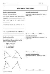 Triangles particuliers - 6ème - Exercices corrigés