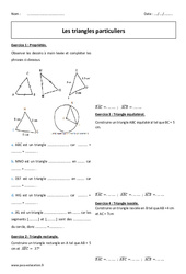 Triangle rectangle, isocèle, équilatéral - 6ème - Exercices à imprimer