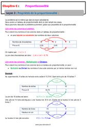 Propriétés de la proportionnalité - 6ème - Cours
