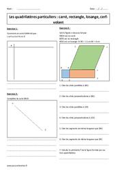 Quadrilatères particuliers - 6ème - Exercices corrigés - Carrés, rectangles, losange, cerf-volant